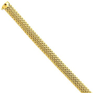14k Yellow Gold 9.25mm Polished Mesh Bracelet