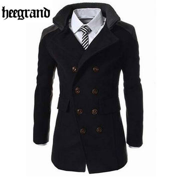 Fashion Men's Autumn Winter Coat Turn-down Collar Wool Blend Men Pea Coat Double Breasted Winter Overcoat