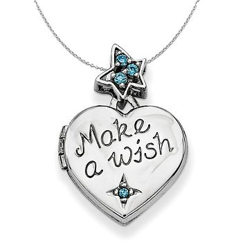 Silver and CZ Make A Wish Star and Heart Locket, 15mm Necklace