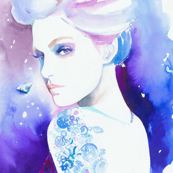 Print of Watercolour Fashion Illustration by Cate Parr. Titled - Diamonds are Forever Diamond Tattoo