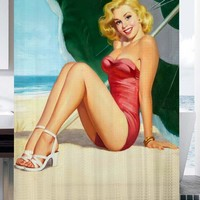 Sexy Retro Vintage Pin Up Girl Shower Curtain adorabel batheroom and hepp