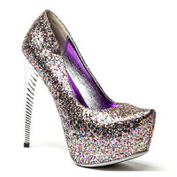 Rumba Almond Toe Platform Glitter Pump Curved Stiletto Heel