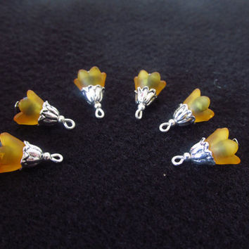 6 Pcs. Lucite Flower Cap Charms - Orange / Black Crystal Beads - Handmade DIY Jewelry Parts - Crystal Jewelry Supplies - Gifts for Her