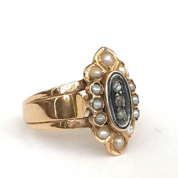 Victorian Pearl Diamond Ring, 18k Rose Gold, Antique, Edwardian, Mourning Ring, Halo Ring, Seed Pearl, Black Enamel, Victorian Jewelry