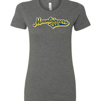 Official NCAA West Virginia University Mountaineers Hail WVU Baseball Tail Ladies Favorite Tee - SC33AWV