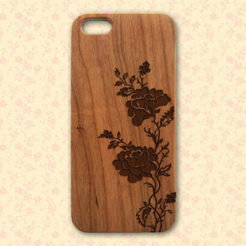 iphone 5 Flower Wood Case - Engraved Floral iPhone Case - flowers roses iphone 4/4s 5/5s 5C 6 cover, iphone 6 flower design, iphone 4 flower