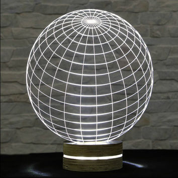 3D LED Lamp, World Shape, Amazing Effect, Table Lamp, Home Decor, Acrylic Lamp, Decorative Lamp, Night Light, Office Decor