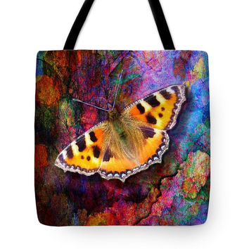 Custom made Tote bag, choice of multiple sizes. Shopping, colorful butterfly wings, artwork on bag, Art on Bag