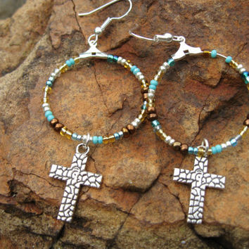 Boho Silver, Teal and Amber hoop - Cross earrings