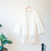 Bohemian Shawl- Fringe Top- Crochet Top- Bell Sleeves- 1970s~ Vintage- Kitsch- Hipster~ Festival Clothing- Boho- Lace Cardigan- White Shirt