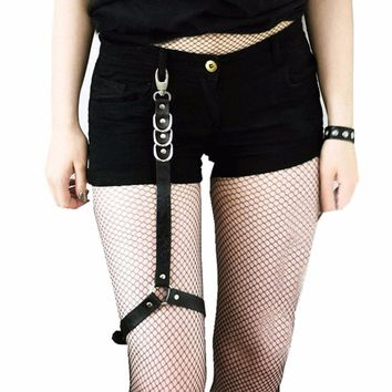 Sexy Women Fashion Harajuku Single Strap Clip Leather Punk Suspender Hook Adjustable Leg Cage Handmade Sock Garter Belt Harness