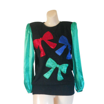 Ugly Christmas Sweater Tacky Christmas Sweater Holiday Sweater Green Sweater Women Christmas Sweater 80s Sweater 1980s Sweater Black Sweater