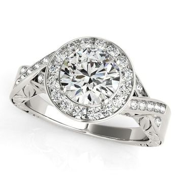 Halo Set Diamond Engagement Ring in 14K White Gold (1 5/8 ct. tw.)