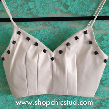 Studded Crop Top Tank Bustier - Cream Faux Leather - Black Pyramid Studs