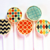 "Retro fashion edible images hard candy lollipops -  2"" lollipops - 5 pc. - MADE TO ORDER"