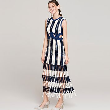 Blue and white striped dress morder style evening party dress