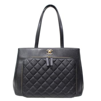 CHANEL Shoulder Tote Bag Quilted Caviar Leather Black