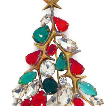 Rhinestone Christmas Tree Pin with Gold Star