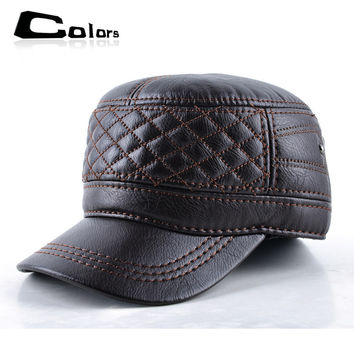 2016 Winter leather baseball cap men flat snapback caps bone masculino winter warm dad hats for men casquette plaid hat gorras