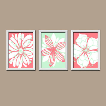 Coral Mint Wall Art Bedroom Wall Art CANVAS or Prints Nursery Bathroom Wall Art Bedroom Pictures Flower Wall Art Flower Dahlia Set of 3
