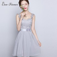 C.V 2017 new design Smoky grey short bridesmaid dresses women annual meeting of company of the banquet formal dress free ship