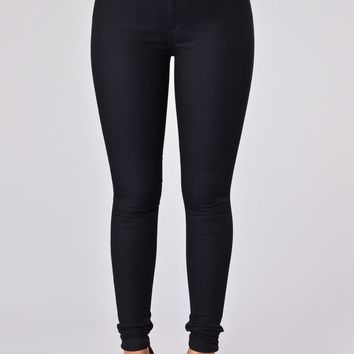Super High Waist Denim Skinnies - Indigo