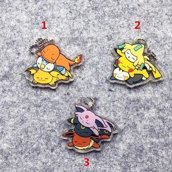 2018 Japan Original GAME FREAK Pokemon Keychain Anime Double-faced Acrylic Keychain Charmander Pikachu Eevee