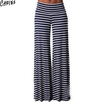 Women Blue Stripe Print High Waist Casual Wide Leg Palazzo Pants Full Length 2016 New Spring Fashion Cotton Loose Brief Clothing