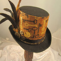 STEAMPUNK TOP HATS, Steampunk Store, Steampunk Emporium, Brown, Felt, Clock Parts, Feathers