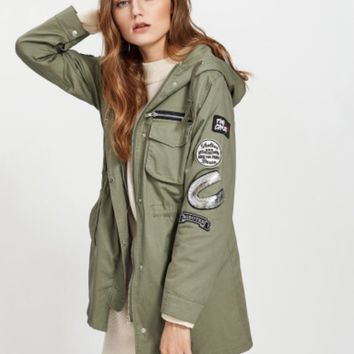 Hooded utility Jacket with Patches
