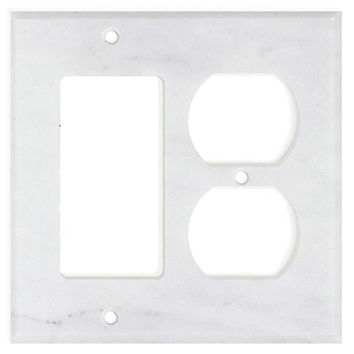 Italian Carrara White Marble Rocker Duplex Switch Wall Plate / Switch Plate / Cover - Honed