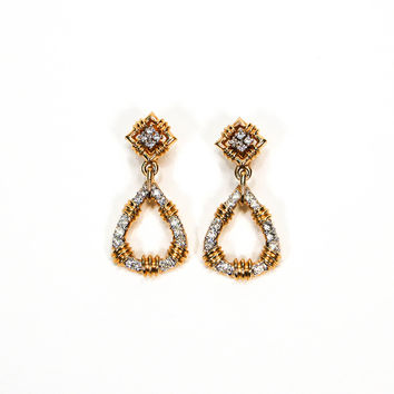 Rhinestone Door Knocker Earrings By Panetta, High End Vintage Designer Jewelry  (Small/Indie Brands)