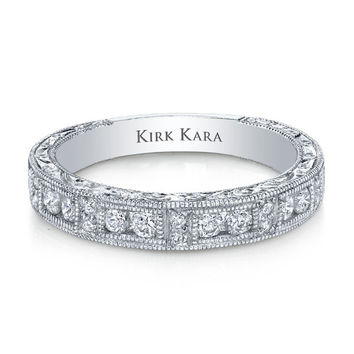 Kirk Kara Hand Engraved Diamond Wedding Ring From The Charlotte Collection In 18kt White Gold Featuring 0.34 Carats Round Cut Diamonds.