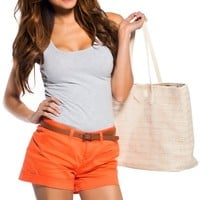 Orange Crush Shorts with Brown Belt