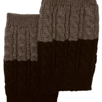 Women's Two Tone Light Brown / Dark Brown REVERSIBLE BOOT CUFF - Cable Knit Boot Sock Topper, Knitted Boot Cuffs