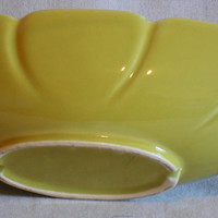 Mid Century Modern Planter. Chartreuse oval scalloped design vintage container.