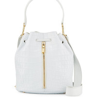 Elizabeth and James Cynnie Crocodile-Embossed Bucket Bag