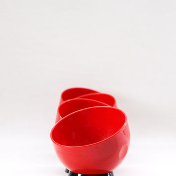 Vintage Mid century plastic appetizer bowl, snack bowl in Red