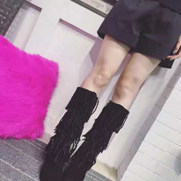 2016 the Lastest Design Fringe Boots Women's Winter Boots 100% Cowhide Suede Genuine Leather Black Tan Knee High Boots