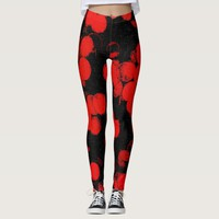 Red dots, circles, bubbles on black canvas fabric leggings
