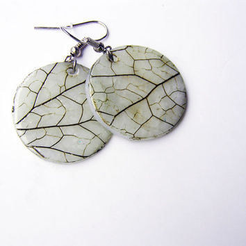 Minimalist leaf impression jewelry set- polymer clay- earrings and ring set- dangle round earring- organic look- translucent- woodland