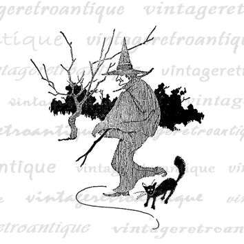 Printable Witch and Black Cat Graphic Image Halloween Digital Download Vintage Clip Art Jpg Png Eps  HQ 300dpi No.2456