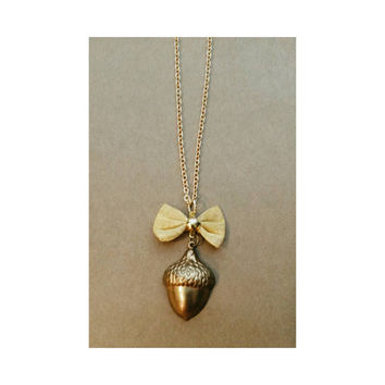 Vintage Brass Bow and Acorn Necklace