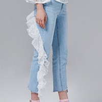 Lindsey Lace Ruffle Jeans