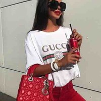 """Gucci"" Women Men Hot letters print T-shirt top White"