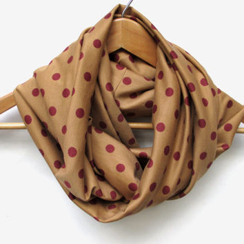 Maroon Polka Dots on Caramel Infinity Scarf // Ponte De Roma Knit Fabric // Holiday Scarf // Fall Scarf // Fall Trends // November Finds