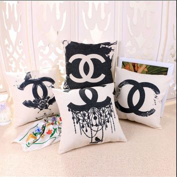 ONETOW Chanel Cotton and linen pillow sets with core pillow back car sofa pillowcase