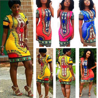 Women Boho Dashiki Dresses Long Shirt African Clubwear Short Mini Dress