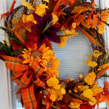 Fall Wreath – Sunflower Fall Decor- Front Door Wreath - Outdoor Wreath - Pumpkin Wreath- Fall Leaves Wreath- Handmade-  Etsy Wreath