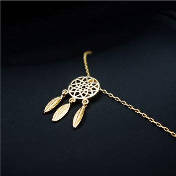 Exquisite handmade original copper casting Dreamcatcher feather pendant necklace jewelry